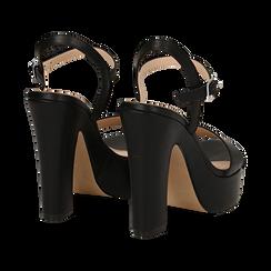 Sandali con plateau neri in eco-pelle, tacco 13 cm , Scarpe, 138404164EPNERO035, 004 preview