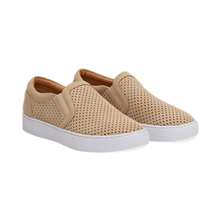 Slip-on beige in nabuk, Scarpe, 131572604NBBEIG036, 002 preview