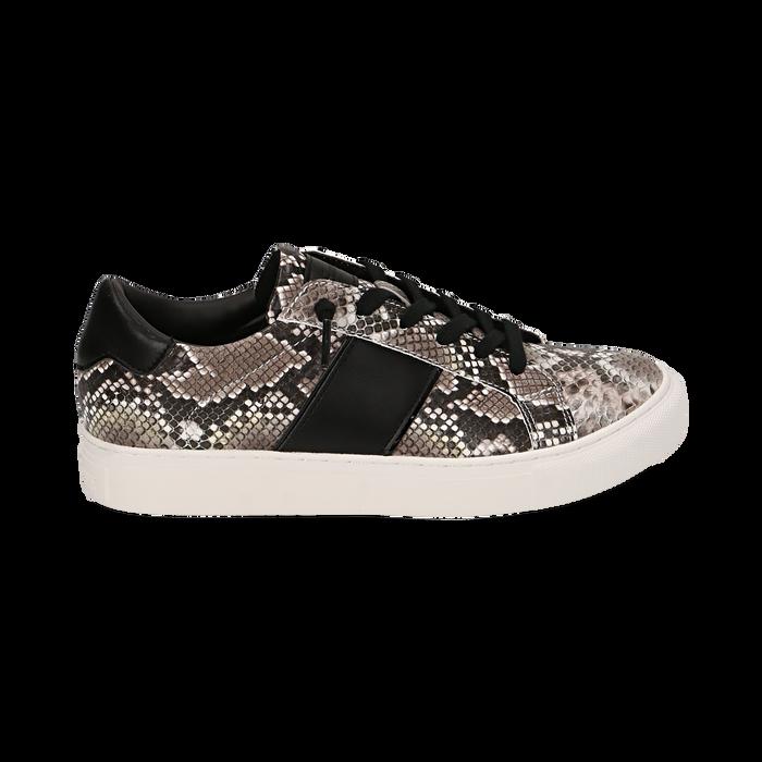 Sneakers bianco/nere stampa pitone, Primadonna, 162619071PTBINE035