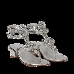 Sandali gioiello infradito argento in laminato, tacco 6 cm, Primadonna, 134986238LMARGE035, 002a