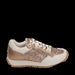 Sneakers en purpurina color dorado/rosa, Zapatos, 152669937GLRAOR039, 001a