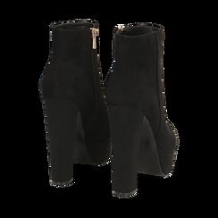 Ankle boots con plateau neri in microfibra, tacco 13,5 cm , Stivaletti, 142138410MFNERO035, 004 preview