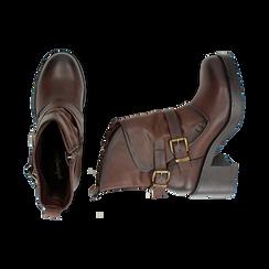 Biker boots cuoio con fibbie in eco-pelle, tacco 7 cm , Scarpe, 143091353EPCUOI, 003 preview