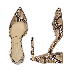 Décolleté en eco-piel con estampados de serpiente y tira color beige, tacón 6,50 cm, Zapatos, 152182391PTBEIG039, 003 preview