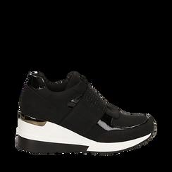 Sneakers nere in lycra con strap e brillantini, zeppa 6 cm , Scarpe, 14A718208LYNERO035, 001a
