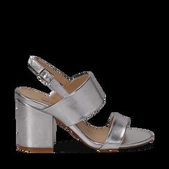 Sandali doppia fascia argento in laminato, tacco 9 cm, Saldi, 132177304LMARGE035, 001a
