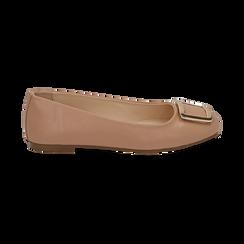 Bailarinas con hebilla de ecopiel en color nude , Zapatos, 154969811EPNUDE036, 001 preview