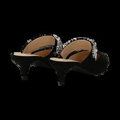 Mules nere in microfibra con cristalli, tacco 5 cm, Scarpe, 134942558MFNERO037, 004 preview