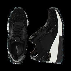 Sneakers nere in lycra con brillantini, zeppa 6 cm , Scarpe, 14A718206LYNERO035, 003 preview