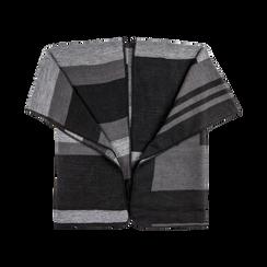 Poncho grigio effetto lamé, stampa a quadri multicolore, Abbigliamento, 12B409678TSNEGR, 001 preview