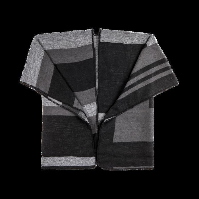 Poncho grigio effetto lamé, stampa a quadri multicolore, Abbigliamento, 12B409678TSNEGR