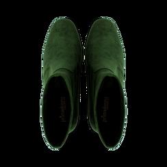 Ankle boots verdi in microfibra, tacco 7,5 cm , Stivaletti, 143072170MFVERD036, 004 preview