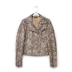 Biker jacket beige in eco-pelle, stampa snake skin, Primadonna, 136501161PTBEIGL, 001 preview