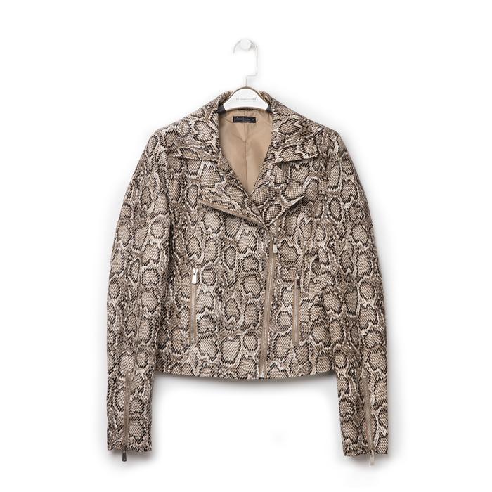 Biker jacket beige in eco-pelle, stampa snake skin, Primadonna, 136501161PTBEIGL