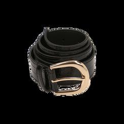 Cintura nera in eco-pelle stampa cocco, Abbigliamento, 144045701CCNEROUNI, 001 preview