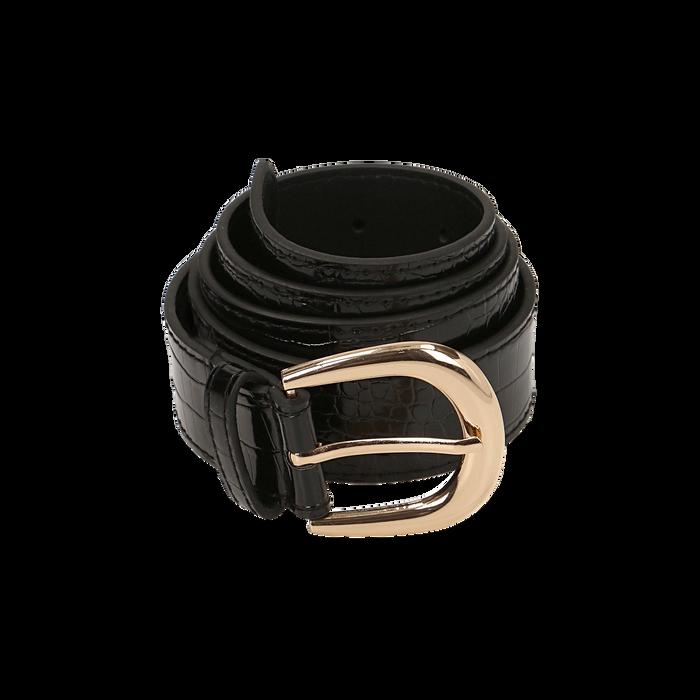 Cintura nera in eco-pelle stampa cocco, Abbigliamento, 144045701CCNEROUNI