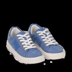 Sneakers de microfibra en color azul, Zapatos, 152619072MFAZZU035, 002a
