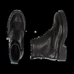 Anfibi neri in eco-pelle con lavorazione Duilio, suola 4,50 cm , Stivaletti, 140585753EPNERO035, 003 preview