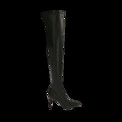 Stivali oveknee neri, tacco 9 cm, Primadonna, 162183365EPNERO036, 001a