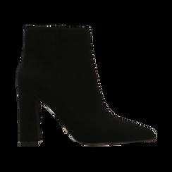 Tronchetti neri, tacco quadrato 10,5 cm, Scarpe, 122166720MFNERO, 001 preview