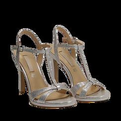 Sandalo argento in laminato, tacco 10,50 cm, Sandali con tacco, 132127402LMARGE036, 002a