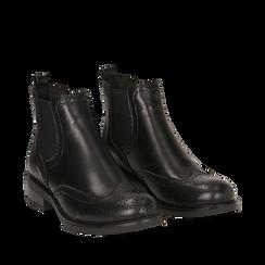 Chelsea boots neri in eco-pelle con lavorazione Duilio, Stivaletti, 140618206EPNERO035, 002a