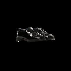 Mocassini stile British neri in vernice con tacco basso, Scarpe, 120618122VENERO035, 002
