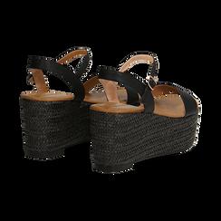 Sandali platform neri in eco-pelle, zeppa in corda 8 cm, Primadonna, 134983293EPNERO036, 004 preview