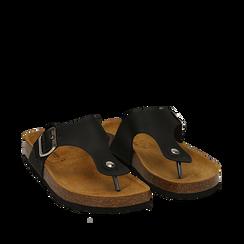 Zeppe nere in eco-pelle con suola in sughero, Scarpe, 136785202EPNERO036, 002a