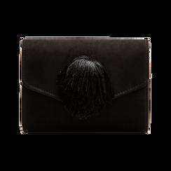 Pochette nera scamosciata con pon-pon, Saldi Borse, 123369415MFNEROUNI, 001 preview