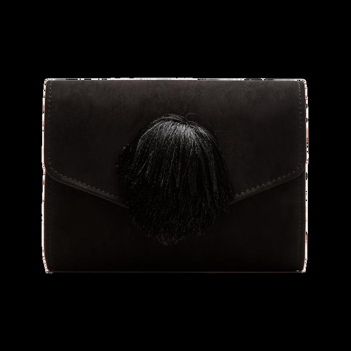 Pochette nera scamosciata con pon-pon, Saldi Borse, 123369415MFNEROUNI