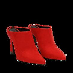Mules rosse in microfibra, tacco 10 cm , Scarpe, 141755071MFROSS035, 002a