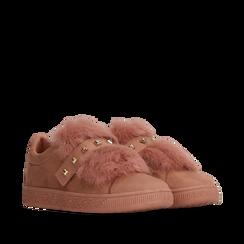 Sneakers rosa nude slip-on con dettagli faux-fur e borchie, Primadonna, 129300023MFNUDE036, 002a