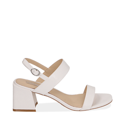 Sandali bianchi stampa pitone, tacco 6,50 cm, Primadonna, 152790111PTBIAN036, 001a