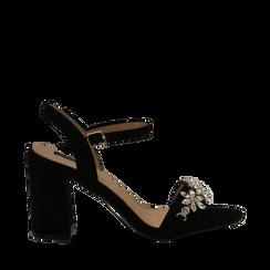 Sandali neri in microfibra con maxi-pietre, tacco 8 cm, Primadonna, 134900971MFNERO035, 001a
