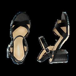 Sandali neri in eco-pelle, tacco 7 cm , PROMOTIONS, 152990638EPNERO036, 003 preview