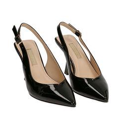 Slingback negro de charol, tacón 8 cm,  Zapatos, 174823795VENERO035, 002a