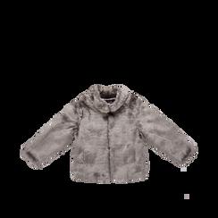 Pelliccia grigia corta eco-fur, manica lunga, Saldi, 12B432301FUGRIGM, 001a