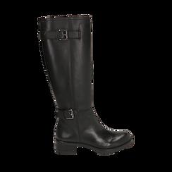 Stivali con fibbie neri in pelle, tacco 4 cm , Scarpe, 146262002PENERO035, 001a