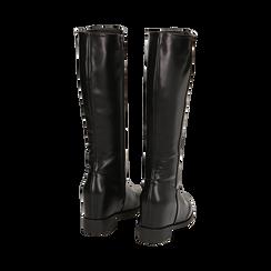Stivali neri in eco-pelle con zeppa interna, tacco 3 cm , Scarpe, 149721229EPNERO035, 003 preview
