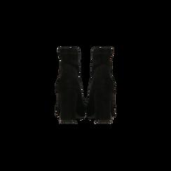 Tronchetti neri con catena e frange, tacco 9,5 cm, Scarpe, 122186592MFNERO, 003 preview