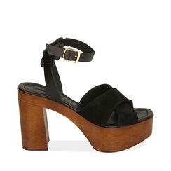 Sandales en daim noir, talon de 10,5 cm, 174304899CMNERO035, 001a