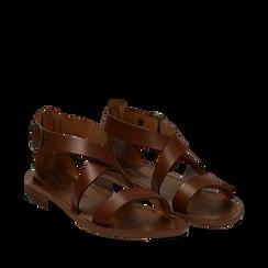 Sandali flat cuoio in pelle, Primadonna, 138100112VACUOI035, 002a