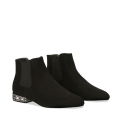 Chelsea Boots neri scamosciati, tacco basso scintillante, Primadonna, 124911285MFNERO036, 002a