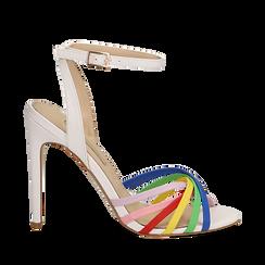 Sandali multilistino bianchi in eco-pelle effetto rainbow, tacco 11 cm, Scarpe, 132120686EPBIAN035, 001a