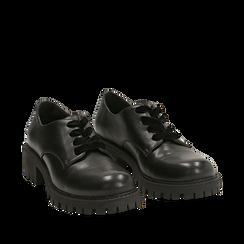 Stringate nere in eco-pelle con lacci in velluto, Scarpe, 140585669EPNERO035, 002a