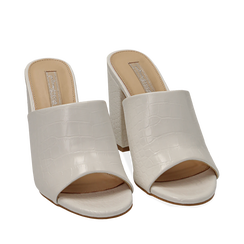 Mules bianche in eco-pelle cocco print, tacco 9 cm , Zapatos, 152783430CCBIAN036, 002a