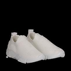 Slip-on bianche in tessuto tecnico, Scarpe, 139718103TSBIAN036, 002a