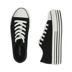 Sneakers negras de lona, Primadonna, 172642102CANERO035, 003 preview