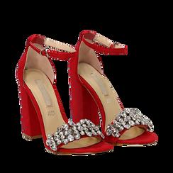 Sandali rossi in microfibra con gemme sulla tomaia, tacco 10,5 cm, Scarpe, 132133794MFROSS035, 002a